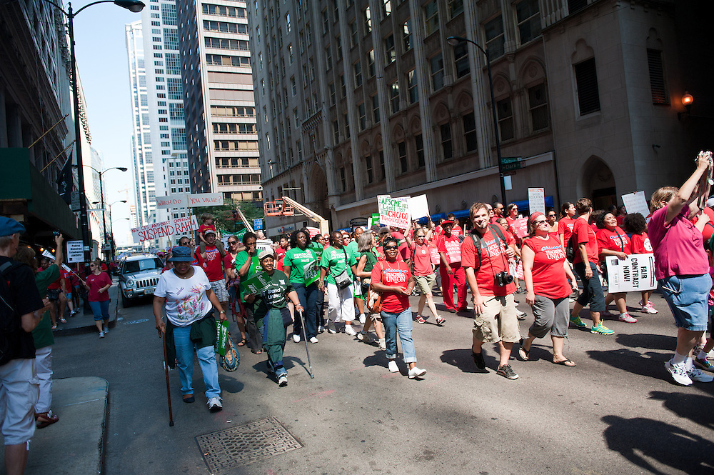 The Chicago Teachers Union and supporters march to CPS Headquarters.