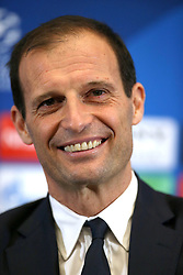 Juventus coach Massimiliano Allegri during the press conference at Wembley Stadium, London.