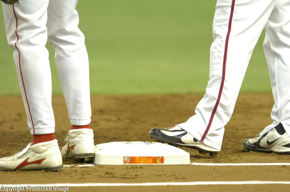 Team China logo on the bag at 1st base during Game 5 matching Team China and Team Chinese Taipei in the World Baseball Classic at Tokyo Dome, Tokyo, Japan.