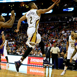 Nov 4, 2016; New Orleans, LA, USA; New Orleans Pelicans guard Tim Frazier (2) shoots against the Phoenix Suns during the first quarter of a game at the Smoothie King Center. Mandatory Credit: Derick E. Hingle-USA TODAY Sports