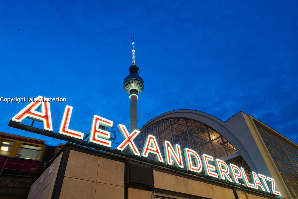 View of Alexanderplatz railway station and Television Tower or Fersehturm at Mitte inn Berlin, Germany