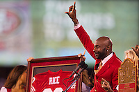 20 September 2010: Hall of Fame wide receiver (80) Jerry Rice of the San Francisco 49ers speaks to the crowd during his 49ers Hall of Fame induction during halftime of the New Orleans Saints 25-22 victory over the 49ers at Candlestick Park in San Francisco, CA.