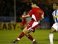 Photo: Chris Ratcliffe.<br />Colchester United v Bristol City. Coca Cola League 1. 17/01/2006.<br />Scott Murray (L) scores the opening goal.