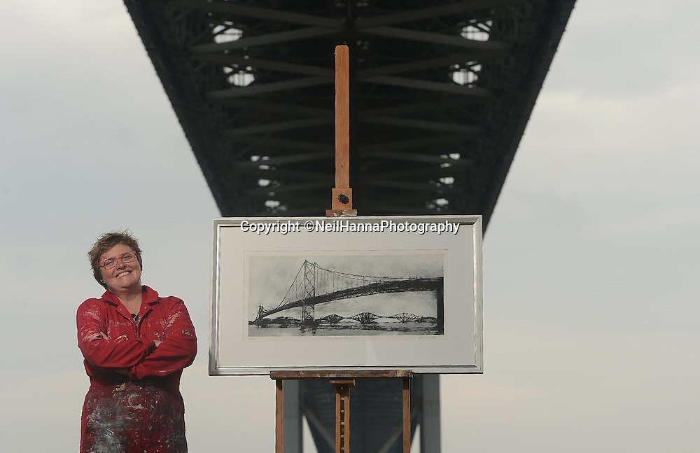 13.6.2014 - Unveiling of the Forth Road Bridge's Commemorative Print<br /> <br /> With the 50th birthday of the Forth Road Bridge fast approaching, renowned Scottish landscape artist, Kate Downie, unveiled her commemorative print on the banks of the River Forth.  The unveiling of the print also marks the start of Kate's on-site residency, as she will spend the next four weeks working – and occasionally living – in an old boathouse in the shadows of the Bridge.<br /> <br /> Pictures by  Neil Hanna  - mobile 07702246823