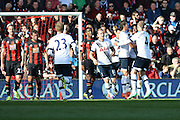 Tottenham Hotspur celebrate their second goal during the Barclays Premier League match between Bournemouth and Tottenham Hotspur at the Goldsands Stadium, Bournemouth, England on 25 October 2015. Photo by Mark Davies.