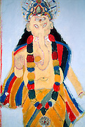 Sri Lanka..Ganesh - primitive style wall painting. Location not known.