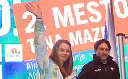 Slovenian 2-times silver medalist alpine skier Tina Maze and Andrea Massi at reception at Preseren's square when she came from Vancouver after Winter Olympic games 2010, on February 28, 2010 in Center of Ljubljana, Slovenia. (Photo by Vid Ponikvar / Sportida)