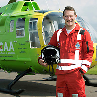 SCAA..Scotland's Charity Air Ambulance paramedic Wayne Auten<br /> The helicopter is a Bolkow 105 supplied by Bond Aviation Services.<br /> Picture by Graeme Hart.<br /> Copyright Perthshire Picture Agency<br /> Tel: 01738 623350  Mobile: 07990 594431