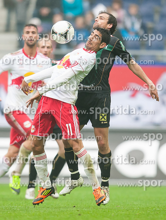 "07.04.2012, Red Bull Arena, Salzburg, AUT, 1. FBL, FC Red Bull Salzburg vs FC Wacker Innsbruck, 29. Spieltag im Bild Gonzalo Zarate, (Red Bull Salzburg, #11), Alexander Hauser, (FC Wacker Innsbruck, #07) // during the Austrian ""Bundesliga"" Match, 29th Round, between FC Red Bull Salzburg and FC Wacker Innsbruck at the Red Bull Arena, Salzburg, Austria on 2012/04/07. EXPA Pictures © 2012, PhotoCredit: EXPA/ Juergen Feichter"