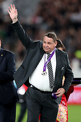 Steve Hansen - New Zealand head coach waves to the fans after receiving his 'Bronze medal' from Sir Bill Beaumont - World Rugby Chairman in his last game in charge of the All Blacks.<br /> New Zealand v Wales, Rugby World Cup, Bronze Final, Tokyo Stadium, Tokyo, Japan, Saturday 1st November 2019. ***Please credit: Fotosport/David Gibson***