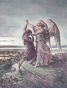 Jacob Wrestling with the Angel Genesis 32:24 From the book 'Bible Gallery' Illustrated by Gustave Dore with Memoir of Doré and Descriptive Letter-press by Talbot W. Chambers D.D. Published by Cassell & Company Limited in London and simultaneously by Mame in Tours, France in 1866