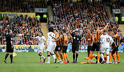 Marouane Fellaini of Manchester United is sent off for a foul on Hull City's Paul McShane - Photo mandatory by-line: Matt McNulty/JMP - Mobile: 07966 386802 - 24/05/2015 - SPORT - Football - Hull - KC Stadium - Hull City v Manchester United - Barclays Premier League