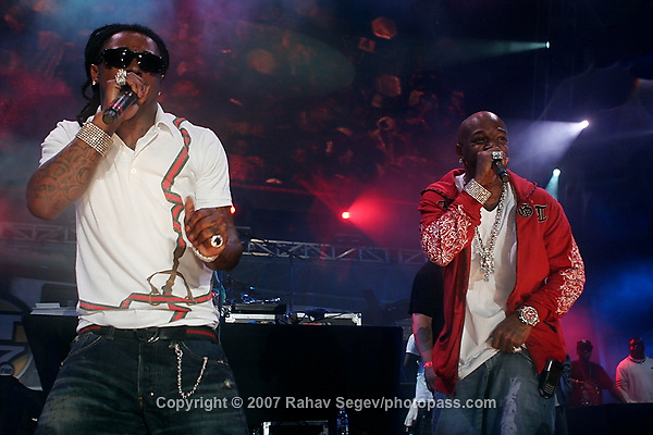 Lil' Wayne and Birdman (in red) performing at Giant's Stadium in East Rutherford New Jersey on June 3, 2007 during Hot 97's Summerjam 2007...© Rahav Segev/ Retna ltd.