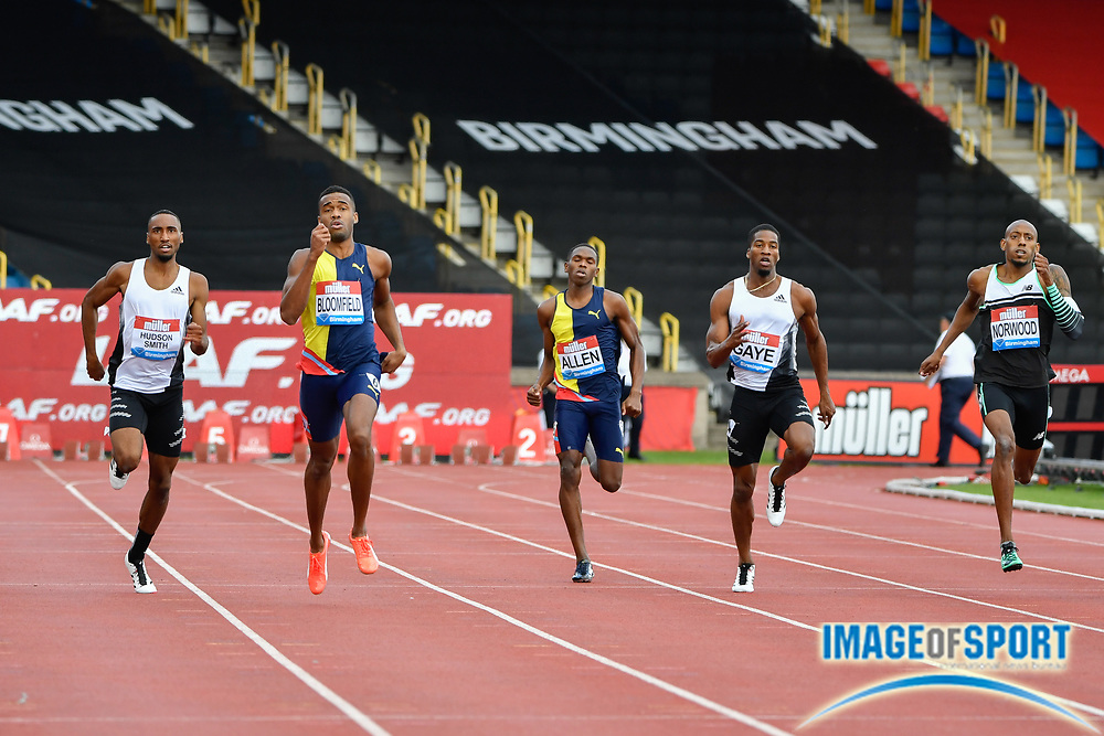 Akeem Bloomfield (JAM) 2nd left, leads the filed in a time of 45.04 to win the men's 400m during the Birmingham Grand Prix, Sunday, Aug 18, 2019, in Birmingham, United Kingdom. (Steve Flynn/Image of Sport)