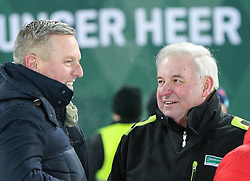 "29.01.2019, Planai, Schladming, AUT, FIS Weltcup Ski Alpin, Slalom, Herren, Siegerehrung, im Bild v.l. Verteidigungsminister Mario Kunasek (FPÖ), Landeshauptmann der Steiermark Hermann Schützenhöfer (ÖVP) // f.l. Austrian Minister for Defence and Sports Mario Kunasek and govenor of Styria Hermann Schützenhöfer during the winner Ceremony for the men's Slalom ""the Nightrace"" of FIS ski alpine world cup at the Planai in Schladming, Austria on 2019/01/29. EXPA Pictures © 2019, PhotoCredit: EXPA/ Martin Huber"