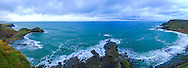 View overlooking a wind and wave battered Giant's Causeway, Port Ganny and Port Noffer from Aird Snout on a December afternoon