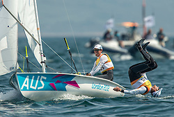 10.08.2012, Bucht von Weymouth, GBR, Olympia 2012, Segeln, im Bild GOLD:.Belcher Mathew, Page Malcolm, (AUS, 470 Men) // during Sailing, at the 2012 Summer Olympics at Bay of Weymouth, United Kingdom on 2012/08/10. EXPA Pictures © 2012, PhotoCredit: EXPA/ Daniel Forster ***** ATTENTION for AUT, CRO, GER, FIN, NOR, NED, .POL, SLO and SWE ONLY!