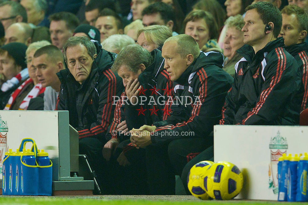 LIVERPOOL, ENGLAND - Saturday, November 20, 2010: Liverpool's head of sports medicine and sports science Dr. Peter Brukner, manager Roy Hodgson and head of fitness and conditioning Darren Burgess during the Premiership match against West Ham United at Anfield. (Photo by: David Rawcliffe/Propaganda)