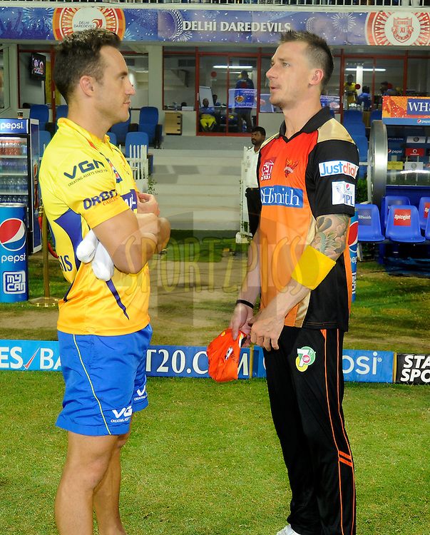 Faf du Plessis of The Chennai Superkings and Dale Steyn of the Sunrisers Hyderabad have a chat after match 16 of the Pepsi Indian Premier League 2014 between the Delhi Daredevils and the Mumbai Indians held at the Sharjah Cricket Stadium, Sharjah, United Arab Emirates on the 27th April 2014<br /> <br /> Photo by Pal Pillai / IPL / SPORTZPICS