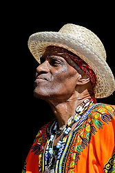 30 April 2015. New Orleans, Louisiana.<br /> The New Orleans Jazz and Heritage Festival. <br /> Cyril Neville on the Congo Square stage.<br /> Photo; Charlie Varley/varleypix.com