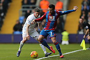 Crystal Palace midfielder Yohan Cabaye  keeps the ball in ahead of Liverpool midfielder James Milner (7)  during the Barclays Premier League match between Crystal Palace and Liverpool at Selhurst Park, London, England on 6 March 2016. Photo by Simon Davies.