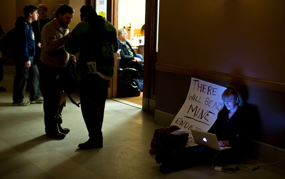 Opposition to an open pit mine hearing held at the Wisconsin State Capital.