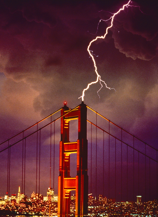 Lightning striking the Golden gate Bridge, San Francisco, California