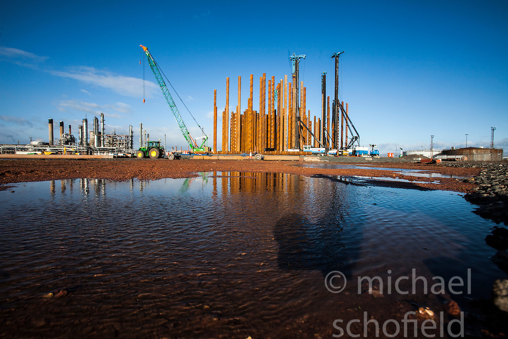 Constructiuon of the new ethane storage tank at Grangemouth refinery. The Sun had access to the plant for a 'year on' tale (last year the plant closed following strike action - this is an update piece).