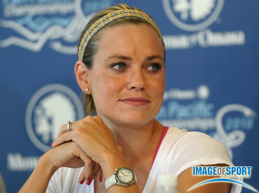 Aug 16, 2010; Irvine, CA, USA; Natalie Coughlin at the 2010 Pan Pacific swimming championships press conference at the William at Woollett Jr. Aquatics Center. Photo by Image of Sport