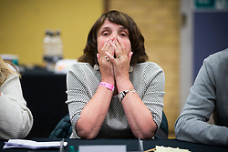 © Licensed to London News Pictures. 08/06/2017. Kendal UK. Picture shows a tired counting assistant at the Kendal leisure centre as counting continues for Tim Farron's constituency of Westmorland & Lonsdale. Photo credit: Andrew McCaren/LNP