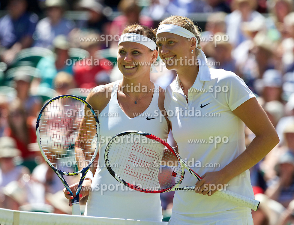03.07.2014, All England Lawn Tennis Club, London, ENG, WTA Tour, Wimbledon, Tag 10, im Bild Lucie Safarova (CZE) and Petra Kvitova (CZE) before the all-Czech Ladies' Singles Semi-Final match on day ten // during day 10 of the Wimbledon Championships at the All England Lawn Tennis Club in London, Great Britain on 2014/07/03. EXPA Pictures &copy; 2014, PhotoCredit: EXPA/ Propagandaphoto/ David Rawcliffe<br /> <br /> *****ATTENTION - OUT of ENG, GBR*****