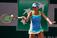 Paris, France - 2017 June 02: Alicja Rosolska from Poland plays a forehand while her women's double match second round during tennis Grand Slam tournament The French Open 2017 (also called Roland Garros) at Stade Roland Garros on June 02, 2017 in Paris, France.<br /> <br /> Mandatory credit:<br /> Photo by © Adam Nurkiewicz<br /> <br /> Adam Nurkiewicz declares that he has no rights to the image of people at the photographs of his authorship.<br /> <br /> Picture also available in RAW (NEF) or TIFF format on special request.<br /> <br /> Any editorial, commercial or promotional use requires written permission from the author of image.