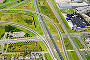 Nederland, Noord-Brabant, Breda, 23-08-2016; Knooppunt Princeville, verkeersknooppunt voor de aansluiting van de autosnelwegen A16 en A58. Half sterknooppunt.<br /> Princeville interchange or junction, near Breda, traffic hub for connecting the A16 and A58.<br /> <br /> luchtfoto (toeslag op standard tarieven);<br /> aerial photo (additional fee required);<br /> copyright foto/photo Siebe Swart