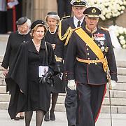 LUX/Luxemburg/20190504 - Funeral of HRH Grand Duke Jean/Uitvaart Groothertog Jean, Koning  Harald van Noorwegen (R) en Koningin            Sonja