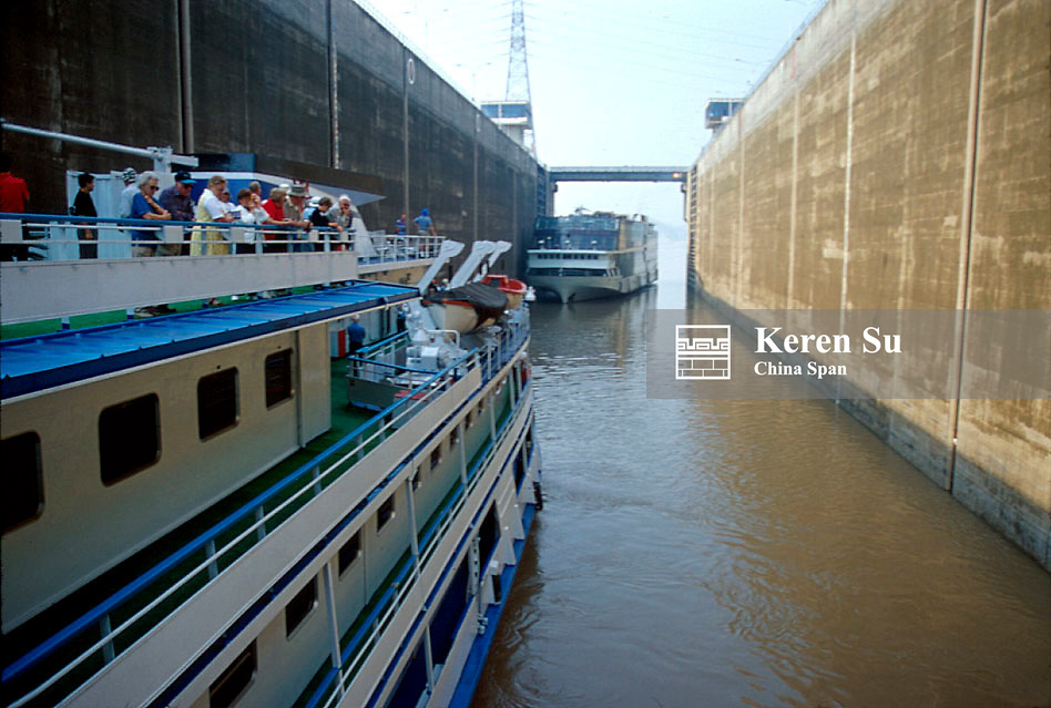 Tourist ship going through Gezhou Dam Lock, Three Gorges, Yangtze River, China