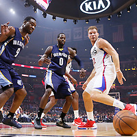09 November 2015: Los Angeles Clippers forward Blake Griffin (32) vies for the ball with Memphis Grizzlies forward JaMychal Green (0), Memphis Grizzlies guard Tony Allen (9), next to Los Angeles Clippers center DeAndre Jordan (6) and Memphis Grizzlies forward Zach Randolph (50) during the Los Angeles Clippers 94-92 victory over the Memphis Grizzlies, at the Staples Center, in Los Angeles, California, USA.