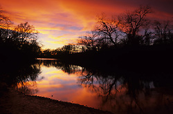 Stock photo of a silhouette of trees and a river in the Texas Hill Country during a colorful sunset