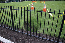 A sinkhole has opened the North Lawn of the White House across the driveway from the briefing room in Washington, DC, USA on Tuesday, May 22, 2018. Photo by Ron Sachs/CNP/ABACAPRESS.COM
