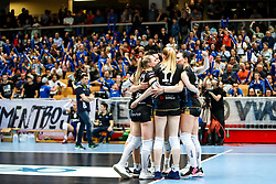 Players of Gen-I Volley celebrate during volleyball match between Gen-I Volley and Nova KBM Branik in Round #3 of Finals of 1. DOL Slovenian Championship 2018/19, on April 19, 2019 in OS Milojke Strukelj, Nova Gorica, Slovenia.  Photo by Matic Klansek Velej / Sportida