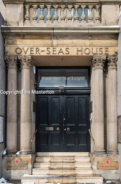 Over-Seas House entrance to  Royal Over-SeasLeague organisation  on Princes Street , Edinburgh, Scotland, United Kingdom