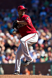 May 30, 2010; San Francisco, CA, USA;  Arizona Diamondbacks relief pitcher Carlos Rosa (49) pitches against the San Francisco Giants during the tenth inning at AT&T Park.  San Francisco defeated Arizona 6-5 in 10 innings.