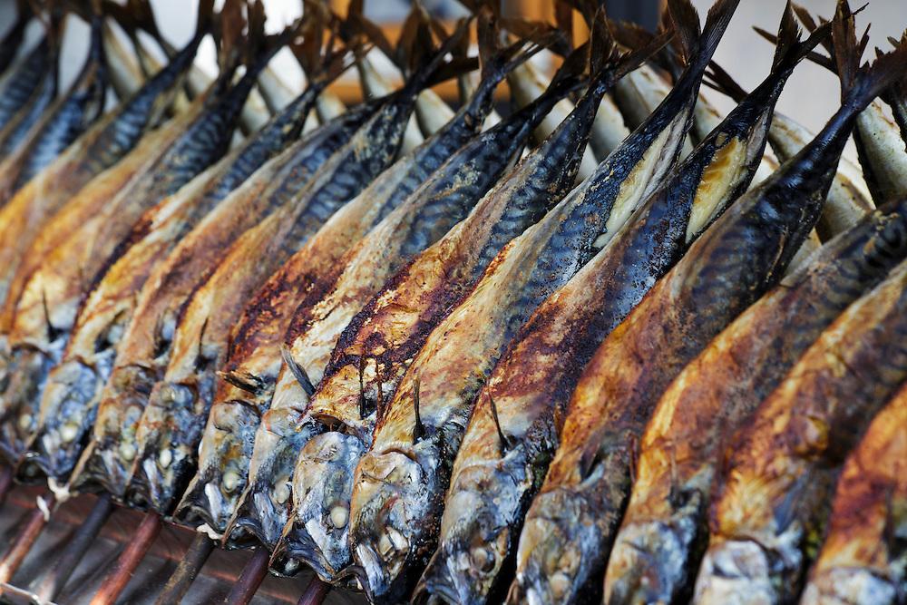 Fish being grilled at Oktoberfest, Munich