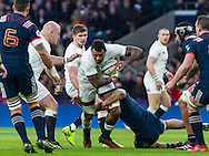 Courtney Lawes in action, England v France in a RBS 6 Nations match at Twickenham Stadium, London, England, on 4th February 2017.
