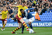 Burnley defender Michael Keane and Birmingham City midfielder Jacques Maghoma battle for the ball during the Sky Bet Championship match between Birmingham City and Burnley at St Andrews, Birmingham, England on 16 April 2016. Photo by Alan Franklin.