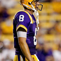 September 10, 2011; Baton Rouge, LA, USA;  LSU Tigers quarterback Zach Mettenberger (8) against the Northwestern State Demons during the second half at Tiger Stadium. LSU defeat Northwestern State 49-3. Mandatory Credit: Derick E. Hingle