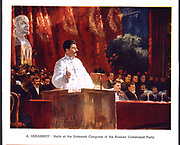 Joseph Stalin ( Iosif Vissarionovichg Dzhugashvili - 1879-1953) Soviet leader, addressing the Sixteenth Congress of the Russian Communist Party, 1930. This was the last Congress to be dominated by the original leaders of the Party.