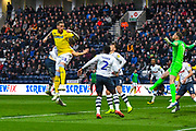 Pontus Jansson of Leeds United (18) in action during the EFL Sky Bet Championship match between Preston North End and Leeds United at Deepdale, Preston, England on 9 April 2019.