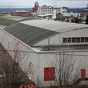 The possible location of a new NBA and NHL arena is shown south of the Safeco Field parking garage on Thursday February 16, 2012 in Seattle's Sodo neighborhood. (Joshua Trujillo, seattlepi.com)