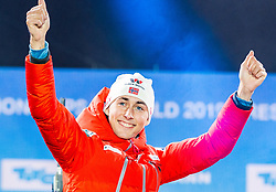 28.02.2019, Seefeld, AUT, FIS Weltmeisterschaften Ski Nordisch, Seefeld 2019, Nordische Kombination, Siegerehrung, im Bild Weltmeister und Goldmedaillengewinner Jarl Magnus Riiber (NOR) // World champion and Gold medalist Jarl Magnus Riiber of Norway during the winner Ceremony for the Ski Jumping competition for Nordic Combined of FIS Nordic Ski World Championships 2019. Seefeld, Austria on 2019/02/28. EXPA Pictures © 2019, PhotoCredit: EXPA/ Stefan Adelsberger
