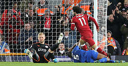 30.12.2017, Anfield Road, Liverpool, ENG, Premier League, FC Liverpool vs Leicester City, 21. Runde, im Bild Mohamed Salah (11) of Liverpool celebrates scoring to make it 2-1 // Mohamed Salah (11) of Liverpool celebrates scoring to make it 2-1 during the English Premier League 21th round match between FC Liverpool and Leicester City at the Anfield Road in Liverpool, Great Britain on 2017/12/30. EXPA Pictures © 2017, PhotoCredit: EXPA/ Focus Images/ Simon Moore<br /> <br /> *****ATTENTION - for AUT, GER, FRA, ITA, SUI, POL, CRO, SLO only*****